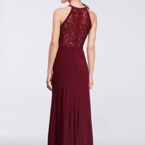 Nightway Dresses Lace Halter Gown Merlot Size 4 Poshmark